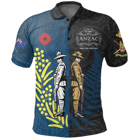 Image of Anzac Spirit Polo Shirt, Lest We Forget Golf Shirts - Blue K5 - 1st New Zealand