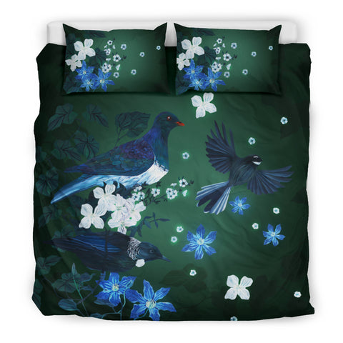 Image of Native Birds Of New Zealand Bedding Set - Green K5 - 1st New Zealand