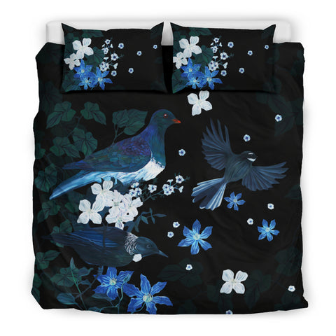 Image of Native Birds Of New Zealand Bedding Set - Black K5 - 1st New Zealand