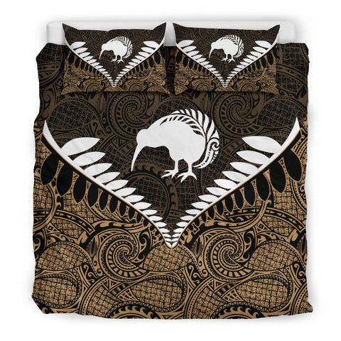 New Zealand Kiwi Fern Bedding Set Gold K4
