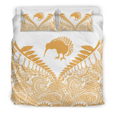 New Zealand Kiwi Fern Bedding Set White Beige 3