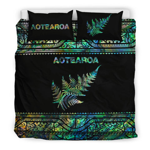 Image of Aotearoa New Zealand Maori Bedding Set Silver Fern - Paua Shell K4x - 1st New Zealand