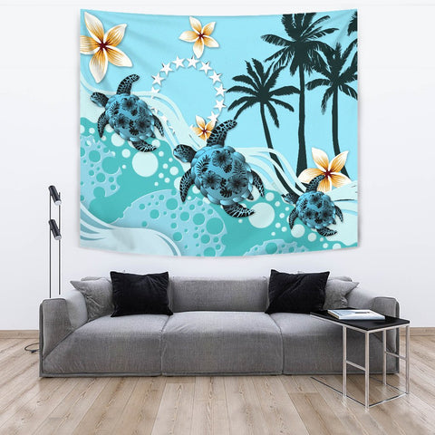 Cook Islands Tapestry - Blue Turtle Hibiscus A24 - 1st New Zealand