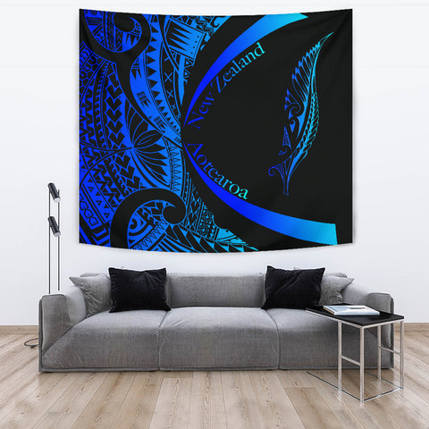 New Zealand Silver Fern Tapestry Maori Tattoo Circle Style - Blue J95 - 1st New Zealand