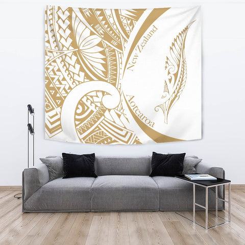 Image of New Zealand Silver Fern Tapestry Maori Tattoo Circle Style - White J95 - 1st New Zealand