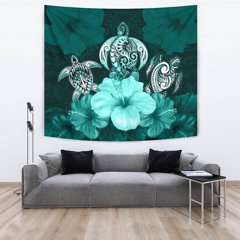 Polynesian Tapestry Turtle And Hibiscus Turquoise TH5 - 1st New Zealand