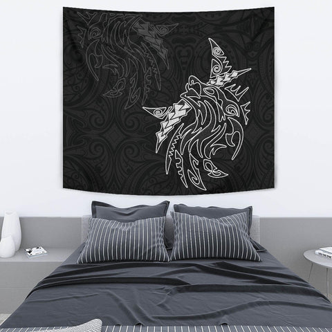 New Zealand Maori Tattoo Wolf Tapestry K5 - 1st New Zealand