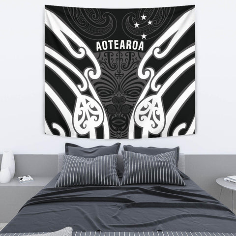 Image of Aotearoa Tapestry Maori Moko Black White Th5 - 1st New Zealand
