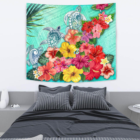 Three Turtle Polynesian Tapestry Hibiscus Colorful TH5 - 1st New Zealand