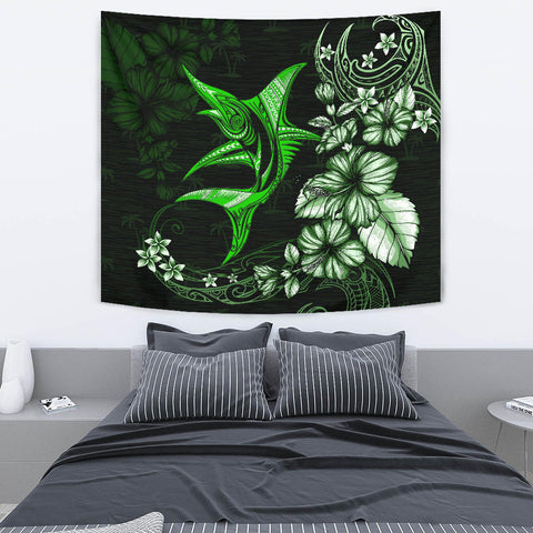 Marlin Polynesian Tapestry Hibiscus Polynesian Green TH5 - 1st New Zealand