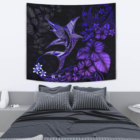 Marlin Polynesian Tapestry Hibiscus Polynesian Purple Blue TH5 - 1st New Zealand