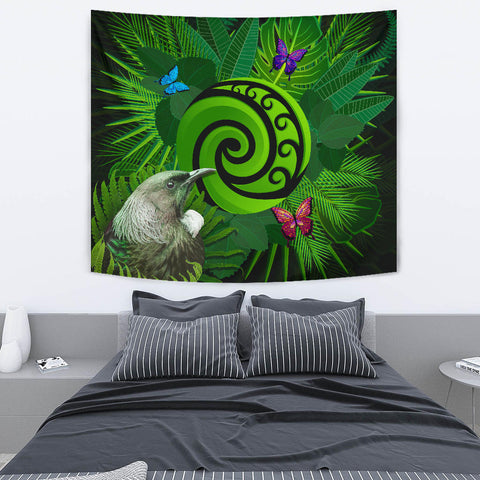 New Zealand Tapestry Koru Fern Mix Tui Bird - Tropical Floral K4 - 1st New Zealand