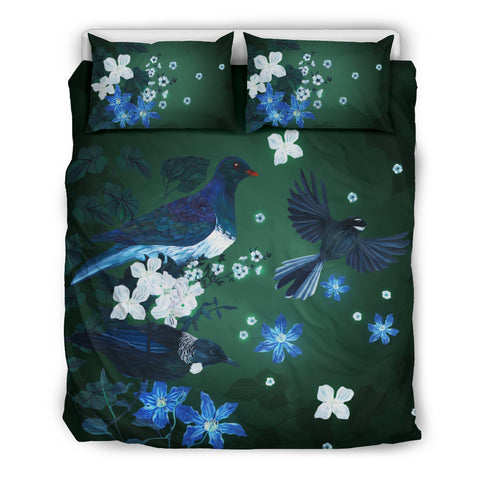 Native Birds Of New Zealand Bedding Set - Green K5 - 1st New Zealand