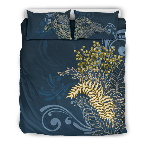 Silver Fern With Flowers New Zealand Bedding Set K5 - 1st New Zealand