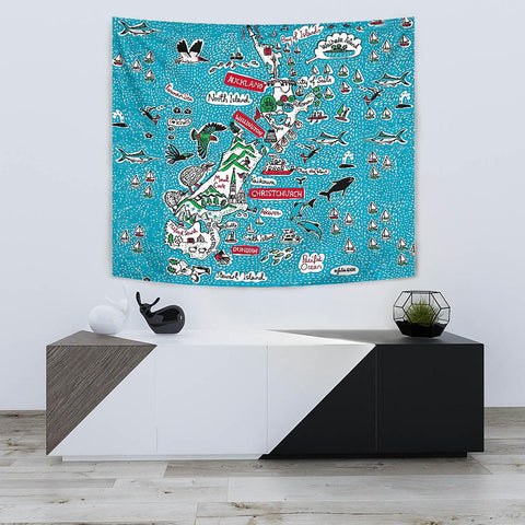 New Zealand Map Tapestry K5 - 1st New Zealand