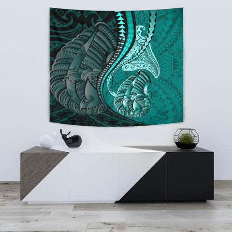 Fish Hook Polynesian Tapestry Manta Polynesian Turquoise TH65 - 1st New Zealand