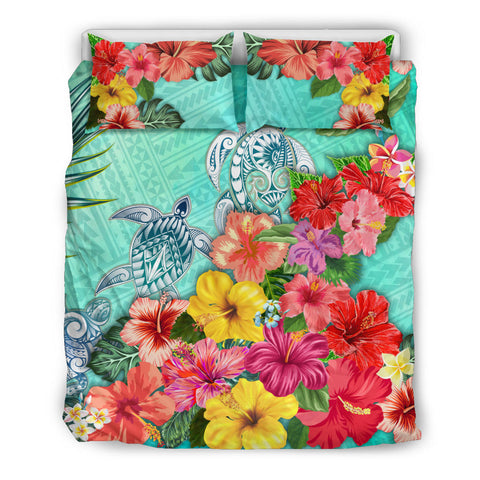 Turtle Polynesian Bedding Set Hibiscus Polynesian Colorful TH5 - 1st New Zealand