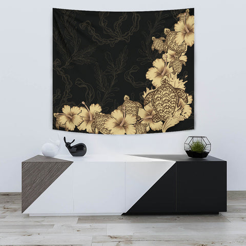 Hibiscus Plumeria Golden Turtle Tapestry K5 - 1st New Zealand