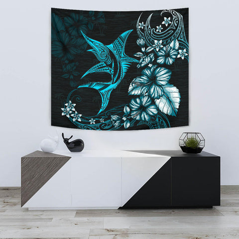Marlin Polynesian Tapestry Hibiscus Polynesian Blue TH5 - 1st New Zealand