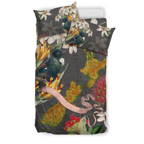 Image of Tui Bird With New Zealand Map Bedding Set K5 - 1st New Zealand