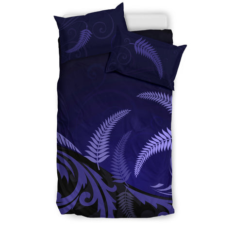 Image of New Zealand Silver Fern Bedding Set - Navy H55 - 1st New Zealand