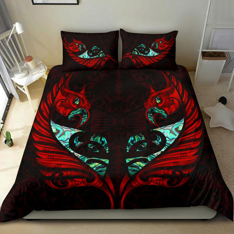 Image of New Zealand Bedding Set Manaia Paua Fern Wing - Red K4 - 1st New Zealand