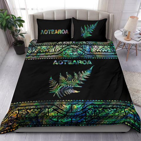 Aotearoa New Zealand Maori Bedding Set Silver Fern - Paua Shell K4x - 1st New Zealand