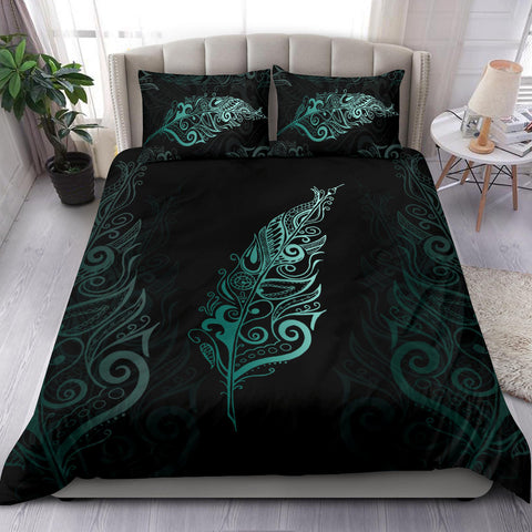 Light Silver Fern New Zealand Bedding Set - Turquoise K5 - 1st New Zealand