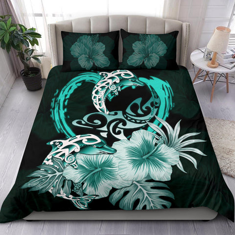Polynesian Bedding Set I Love Dophins Duvet Cover Hibiscus TH5 - 1st New Zealand