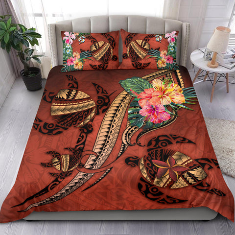 Polynesian Turtle Bedding Set - Tribal Tattoo with Hibiscus Coral K4