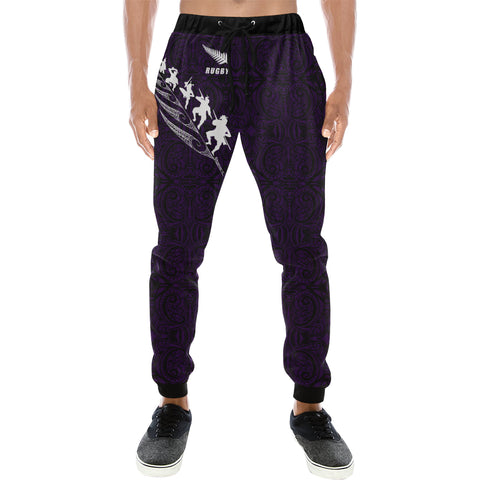 Rugby Haka Fern - Dark Blue Sweatpants - sweatpants for men/women