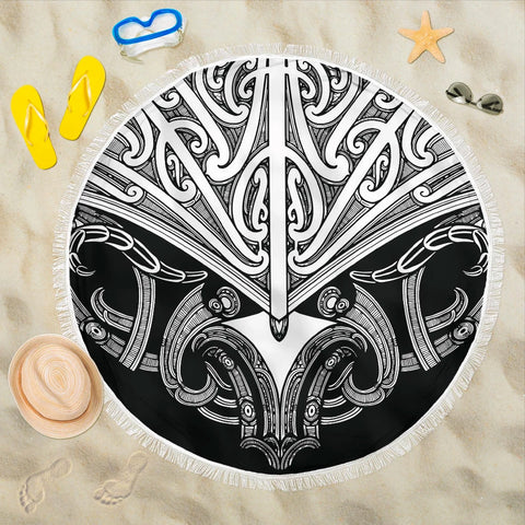 Beach Blanket NZ Maori Tattoo Koru White K4 - 1st New Zealand