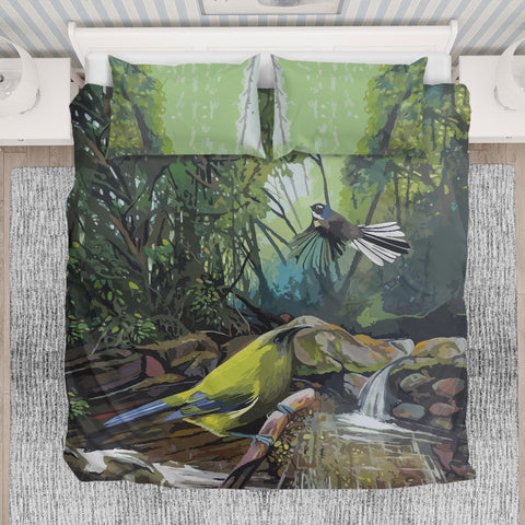 Image of Fantail With Bellbird New Zealand Bedding Set K5 - 1st New Zealand