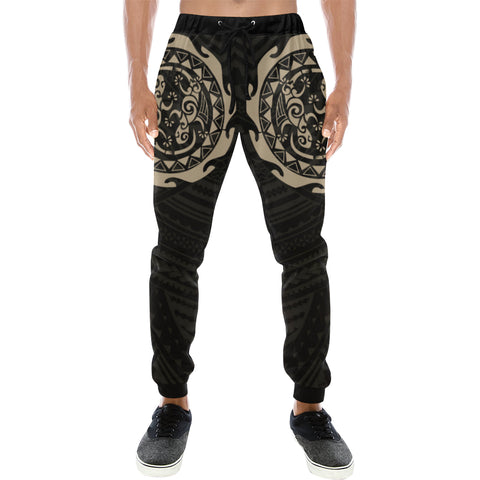 Maori Tangaroa Tattoo New Zealand Sweatpants with Black mix Golden color - Front - For Men