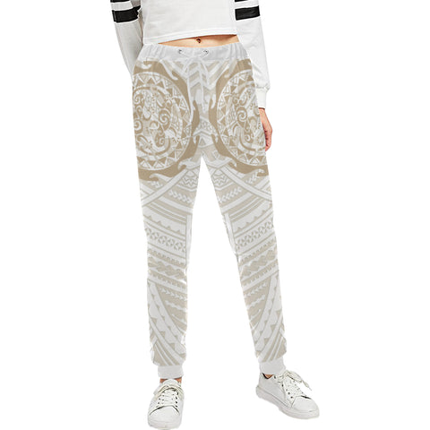 Maori Tangaroa Tattoo New Zealand Sweatpants with Golden mix White color - Front - For Women
