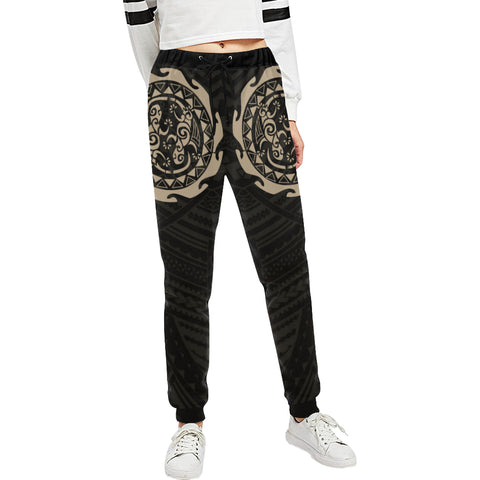 Maori Tangaroa Tattoo New Zealand Sweatpants with Black mix Golden color - Front - For Women
