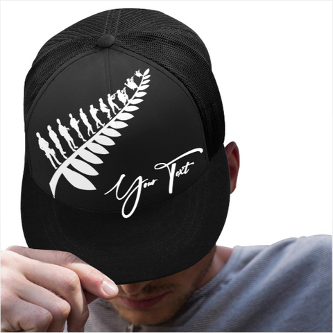 Custom - Lest We Forget Silver Fern Anzac Trucker Hat Personal Signature - Black K5 - 1st New Zealand