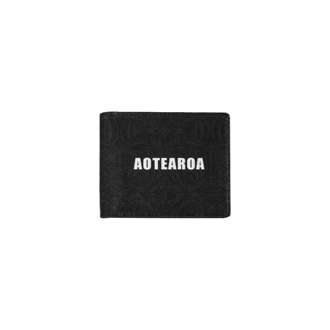 Image of Aotearoa Rugby Fern Mini Bifold Wallet Black White left