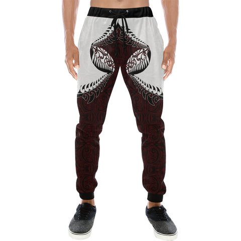 Rugby Haka Style - Dark Red Sweatpants K47 - 1st New Zealand