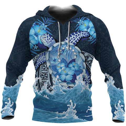 Image of Cook Islands Polynesian Sea Turtle Hibiscus Hoodie K5 - 1st New Zealand