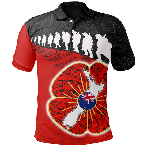Anzac Polo Shirt, New Zealand Lest We Forget Poppy Maori Fern Shirt A025 - 1st New Zealand