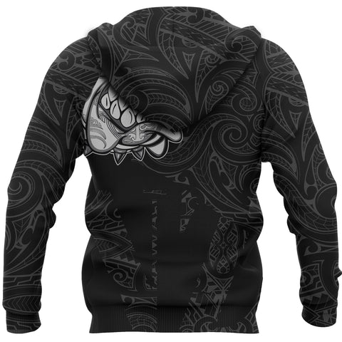 Image of New Zealand Bulldog Hoodie, Maori Bulldog Pullover Hoodie - Black K5 - 1st New Zealand