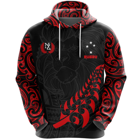 New Zealand Maori Lion Rugby Hoodie - Red K5 - 1st New Zealand
