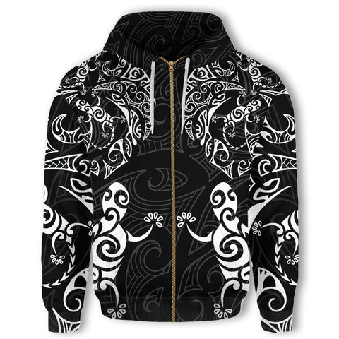 New Zealand Maori Zip Hoodie, Tribal Lizard Tattoo Full Zip Hoodie K5 - 1st New Zealand
