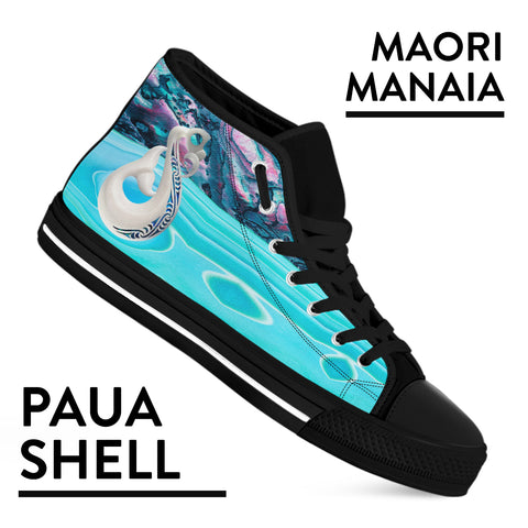 Maori Manaia x Paua Shell New Zealand High Top Shoes K5 - 1st New Zealand
