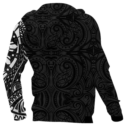 Anzac New Zealand Zip Hoodie, Maori Poppies Tattoo Full Zip Hoodie - White A75 - 1st New Zealand