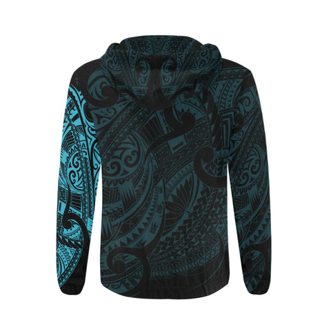 Maori Tattoo Style All Over Zip Hoodie Blue Version - 1st New Zealand