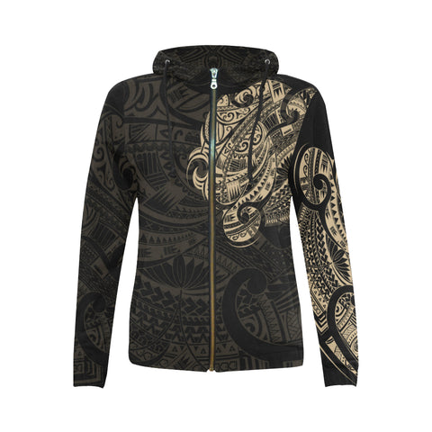 Maori Tattoo Style All Over Zip Hoodie Golden Version - 1st New Zealand