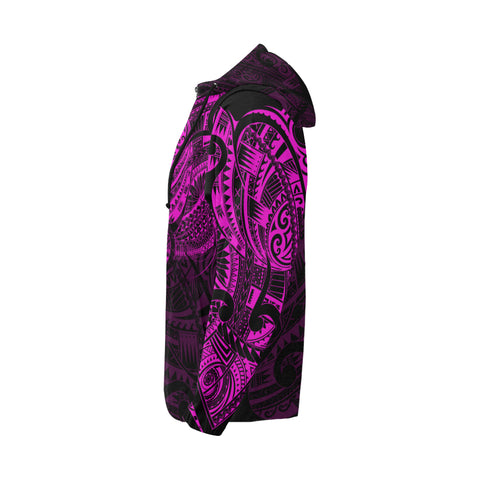 Maori Tattoo Style All Over Zip Hoodie Pink Version - 1st New Zealand