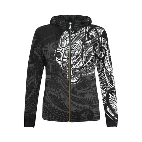 Image of Maori Tattoo Style All Over Zip Hoodie White Version - 1st New Zealand